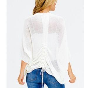 Sweaters - NWT! Ivory White Boho shrug cardigan w/ruched back